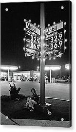 Vn Blvd.-073-34 Mobil Gasoline Sign Acrylic Print by Richard McCloskey