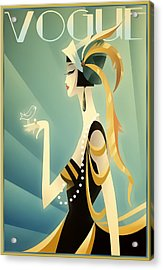 Acrylic Print featuring the digital art Vogue - Bird On Hand by Chuck Staley