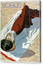 Vogue Cover Featuring A Woman Lying On A Beach Acrylic Print