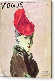 Vogue Cover Illustration Of A Woman Wearing A Red Acrylic Print by Carl Oscar August Erickson