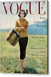 Vogue Magazine Cover Featuring Model Va Taylor Acrylic Print by Karen Radkai