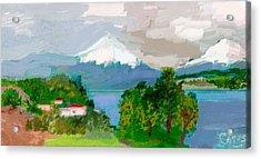 Volcanes Sur De Chile Acrylic Print by Carlos Camus