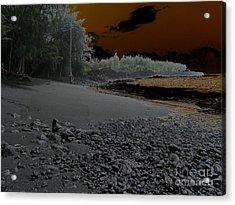 Volcanic Beach Acrylic Print by Silvie Kendall
