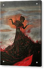 Acrylic Print featuring the painting Volcano Keeper by Melita Safran