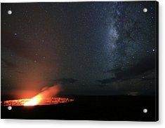 Volcano Under The Milky Way Acrylic Print