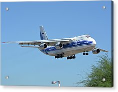Acrylic Print featuring the photograph Volga-dnepr An-124 Ra-82068 Landing Phoenix Sky Harbor June 15 2016 by Brian Lockett