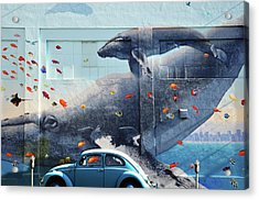Volkswagen Beetle And Humpback Whale Acrylic Print by Larry Butterworth
