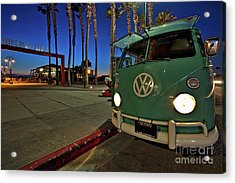 Volkswagen Bus At The Imperial Beach Pier Acrylic Print