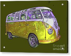Volkswagen Bus Yellow With Poster Edges Acrylic Print