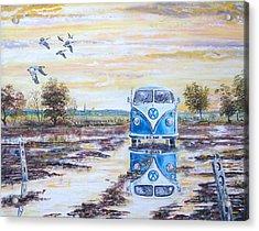 Volkswagen In A Waterlogged Field. Acrylic Print