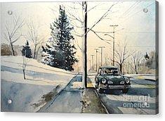 Volkswagen Karmann Ghia On Snowy Road Acrylic Print