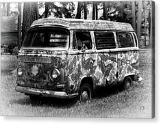 Acrylic Print featuring the photograph Volkswagen Microbus Nostalgia In Black And White by Bill Swartwout Fine Art Photography