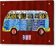 Volkswagen Vw Bus Vintage Classic Retro Vehicle Recycled License Plate Art Usa Acrylic Print