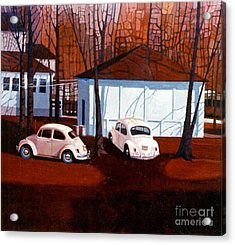 Volkswagons In Red Acrylic Print by Donald Maier