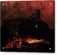 Vollon Antoine A Still Life With A Fish A Bottle And A Wicker Basket Acrylic Print