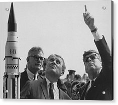 Von Braun And Jfk Looking Towards The Sky Acrylic Print