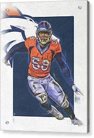 Von Miller Denver Broncos Oil Art Acrylic Print
