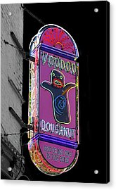Voodoo Doughnut Neon Sign In Black And White Acrylic Print