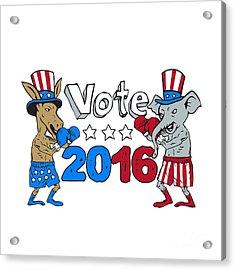 Vote 2016 Donkey Boxer And Elephant Mascot Cartoon Acrylic Print by Aloysius Patrimonio