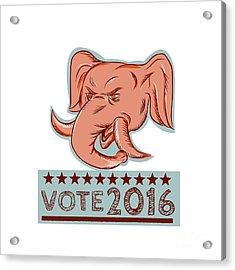 Vote 2016 Republican Elephant Mascot Head Etching Acrylic Print by Aloysius Patrimonio