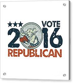 Vote Republican 2016 Elephant Boxer Circle Etching Acrylic Print by Aloysius Patrimonio