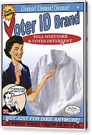 Voter Id Brand Acrylic Print by Ricardo Levins Morales