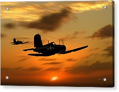 Acrylic Print featuring the digital art Vought Corsairs At Sunset by John Wills