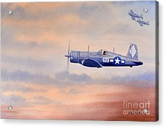 Acrylic Print featuring the painting Vought F4u-1d Corsair Aircraft by Bill Holkham