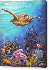 Voyage Of The Honu Acrylic Print by Jeffrey Oldham
