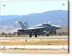 Acrylic Print featuring the photograph Vr  Mcdonnell Douglas-f/a18 Hornet Departs Hollister Air Show by John King