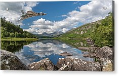 Vulcan Over Lake Acrylic Print by Adrian Evans