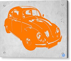 Vw Beetle Orange Acrylic Print by Naxart Studio