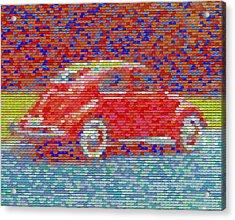 Acrylic Print featuring the digital art Vw Bug Pez Mosaic by Paul Van Scott
