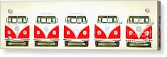 Vw Bus Line Up Painting Acrylic Print by Edward Fielding