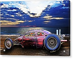 Rat Rod Surf Monster At The Shore Acrylic Print