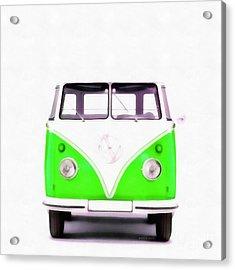 Vw Van Green Painting Acrylic Print by Edward Fielding