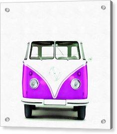 Vw Van Purple Painting Acrylic Print by Edward Fielding