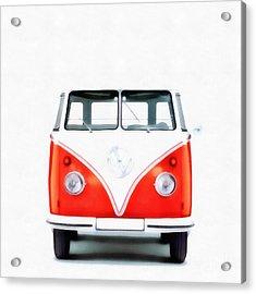 Vw Van Red Painting Acrylic Print