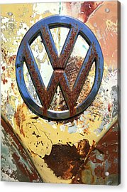Vw Volkswagen Emblem With Rust Acrylic Print