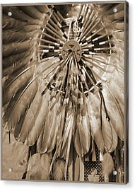 Acrylic Print featuring the photograph Wacipi Dancer In Sepia by Heidi Hermes