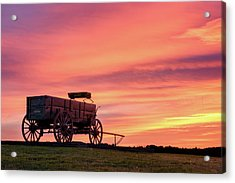 Wagon Afire Acrylic Print by Michael Blanchette