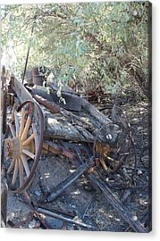 Wagon At The Ghost Town Acrylic Print by Marilyn Barton
