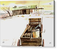 Acrylic Print featuring the painting Wagon At White Sands by John Norman Stewart