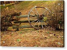 Wagon Wheel Leaning On Fence Acrylic Print