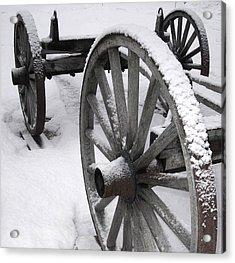 Wagon Wheels In Snow Acrylic Print by Linda Drown