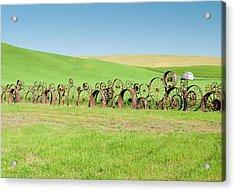 Wagon Wheels Stacked Palouse Washington Acrylic Print by James Hammond