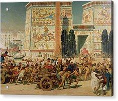 Wagons Detail From Israel In Egypt Acrylic Print by Sir Edward John Poynter