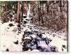 Acrylic Print featuring the photograph Wahkeena Falls In Ice by Jeff Swan
