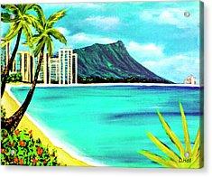 Waikiki Beach And Diamond Head #150 Acrylic Print by Donald k Hall