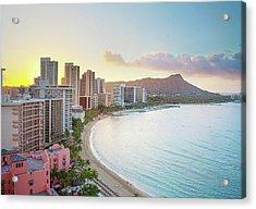 Waikiki Beach At Sunrise Acrylic Print by Monica and Michael Sweet